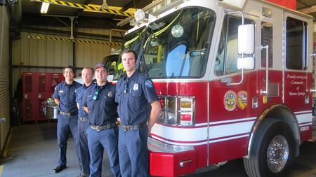 Volunteer Firefighters Shane Farias Left Alex Kuhl Andrew Farquar And Brian Pillsworth
