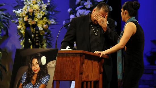Reynaldo Gonzalez breaks down while remembering his daughter Nohemi Gonzalez, Paris attack victim, at her funeral at the Calvary Chapel in Downey, Calif., Friday, Dec. 4, 2015. Gonzalez was the 23 year-old Cal State Long Beach student who was killed while dining with friends at a bistro in Paris l