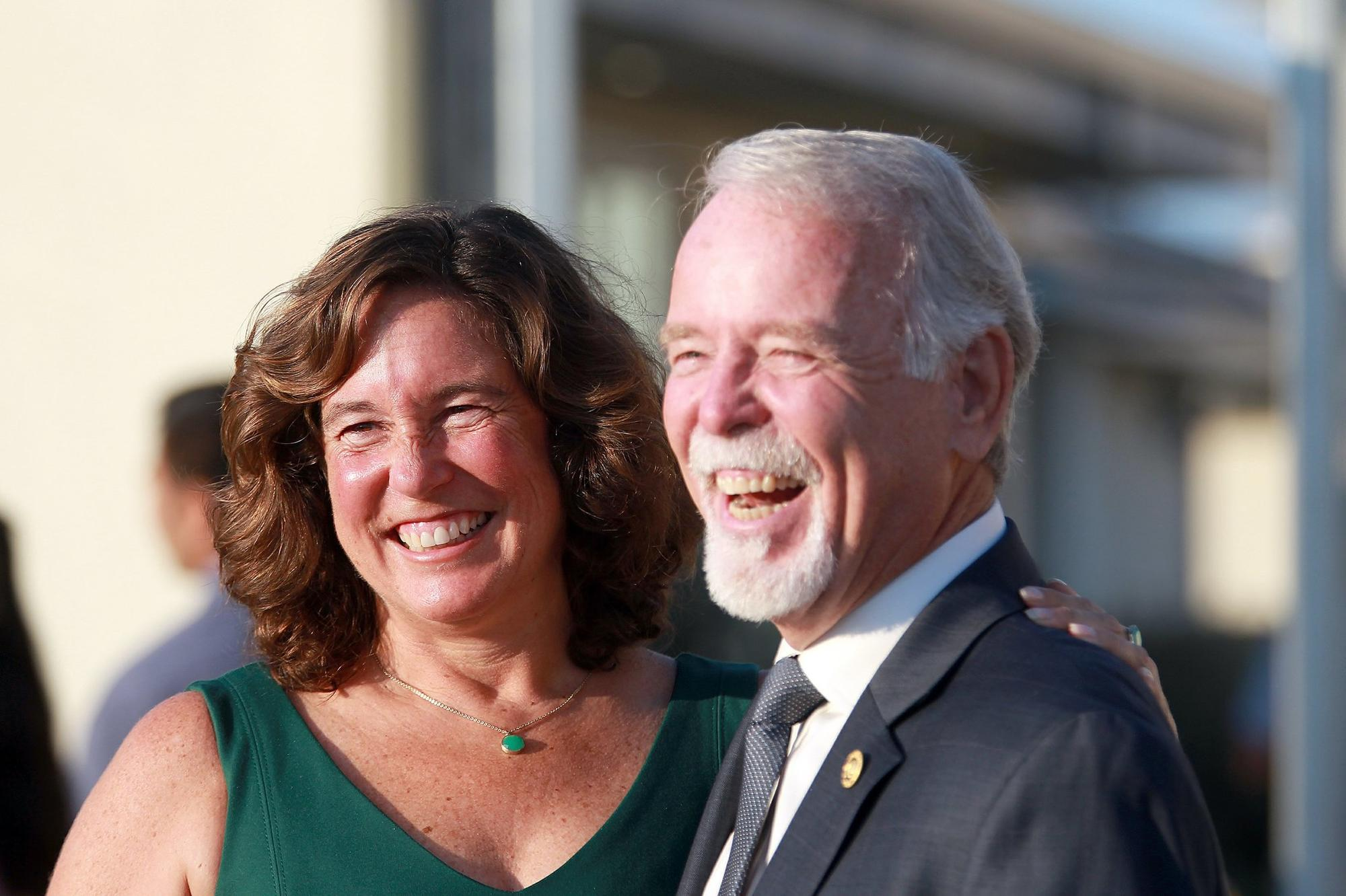San Diego Unified School Superintendent Cindy Marten, left, posed with Dr.Michael McQuary, Ed.D, SDUSD board trustee.