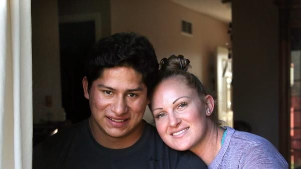 Former Marine Jorge Ortiz, left, lost both of his legs and many fingers to an IED blast in Afghanistan in 2011. While undergoing physical therapy, he met massage therapist Aiyanna Coleman, herself an Army veteran, and they fell in love. They will marry this Valentine's Day, Saturday.