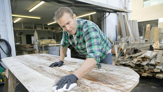 John Thomson finishes and seals wood for Reclaimed Wood San Diego, turning  it into furniture - Bringing Wood Back To Life - The San Diego Union-Tribune