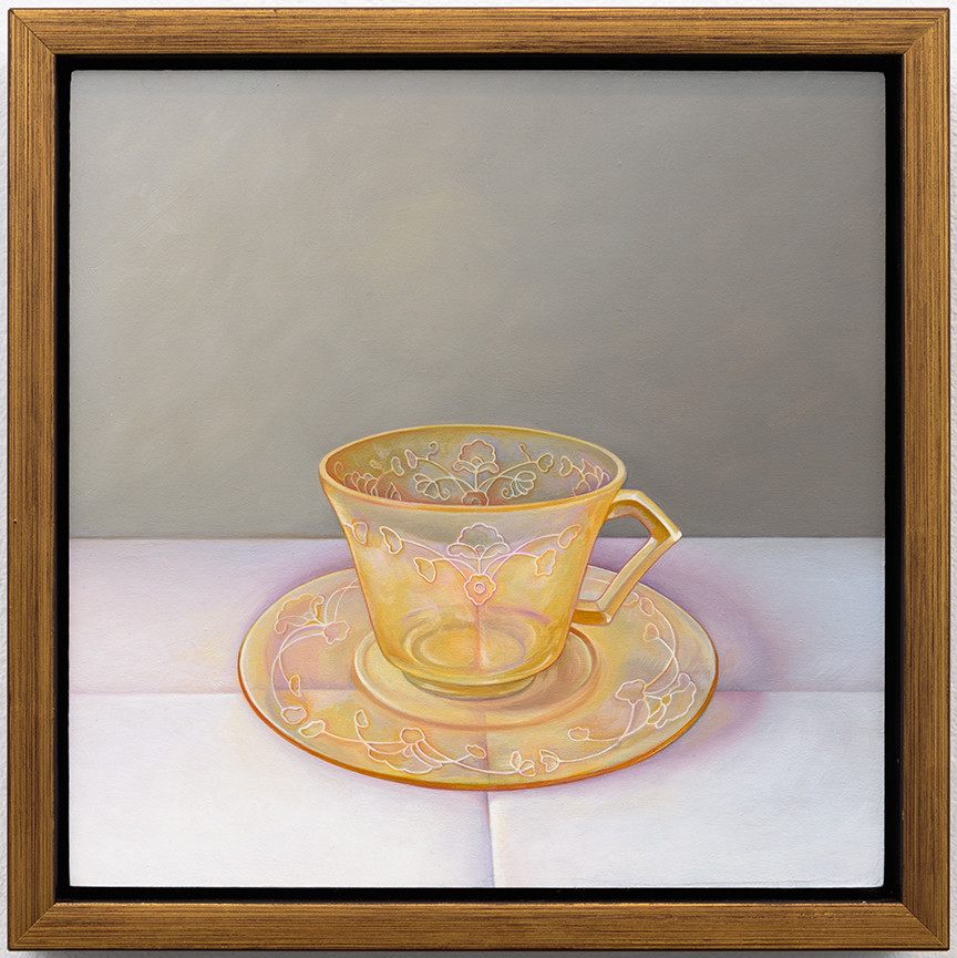 "Laura Lasworth's ""Depression Glass Tea Cup,"" 2016, oil on wood panel, 9.25 inches by 9.25 inches framed."