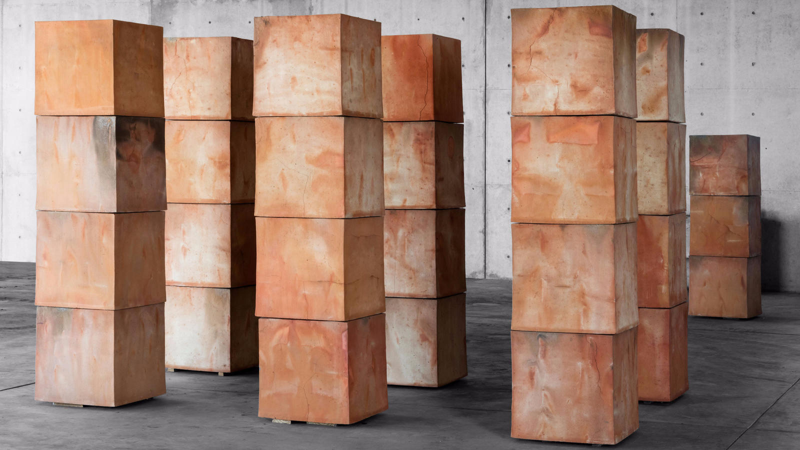 Untitled clay cubes by Bosco Sodi, on view as part of a pop-up exhibition in Los Angeles.