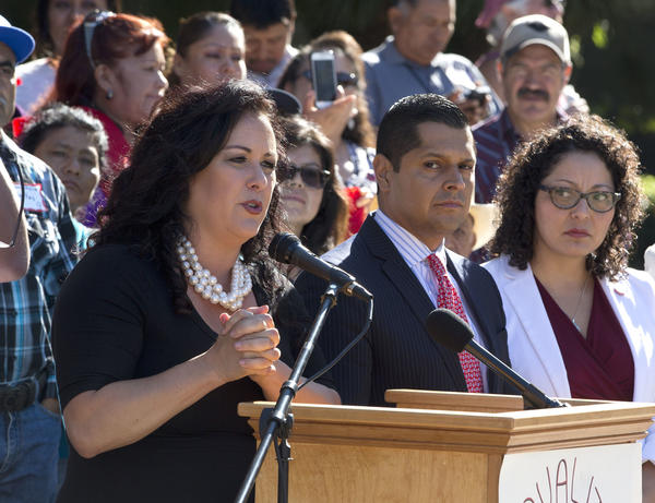 Assemblywoman Lorena Gonzales (D-San Diego) speaks at a rally in support of her bill. (AP Photo/Rich Pedroncelli)