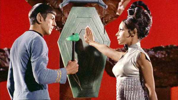 "Leonard Nimoy as Mr. Spock with Arlene Martel as T'Pring in ""Star Trek,"" which began influencing scientists-to-be 50 years ago. (CBS Photo Archive / Getty Images)"