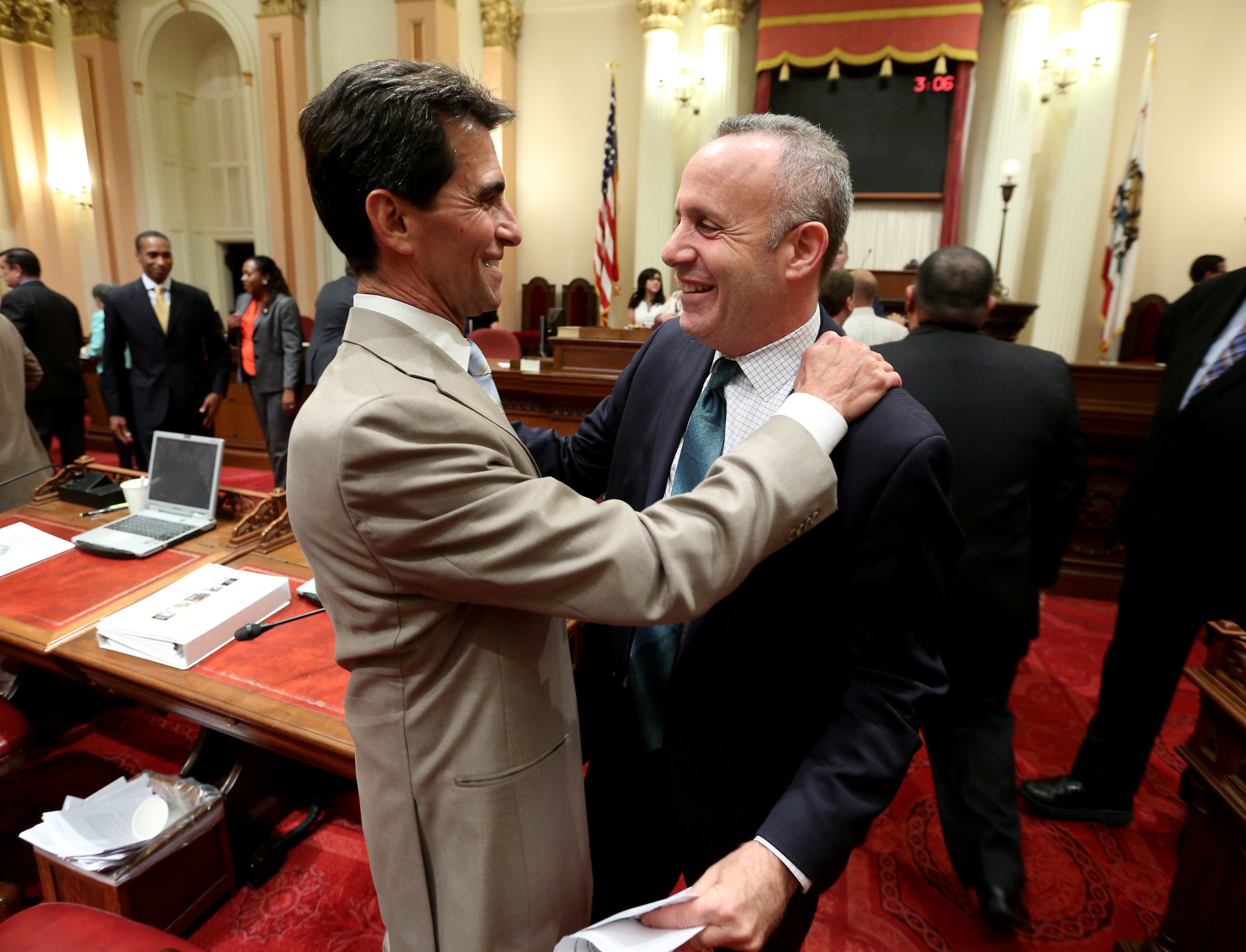 "Leno with former Senate leader Darrell Steinberg on the final night of the 2014 legislative session. ""He's not afraid to have a fight,"" said Steinberg."