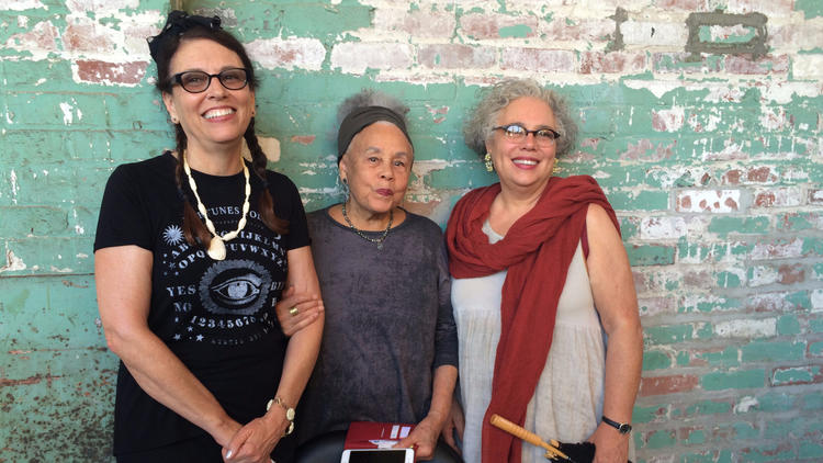 Assemblage artist Betye Saar, center, with her daughters, artists Lezley Saar, left, and Alison Saar.