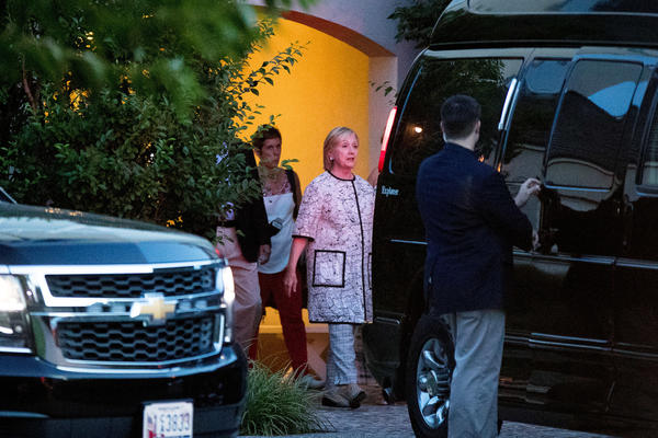 Hillary Clinton leaves a fundraiser Sunday in Southampton, N.Y. (Andrew Harnik / Associated Press)