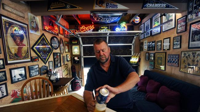Robert Arnold Prepared To Enjoy A Beer In What He Calls His Bar At Oceanside