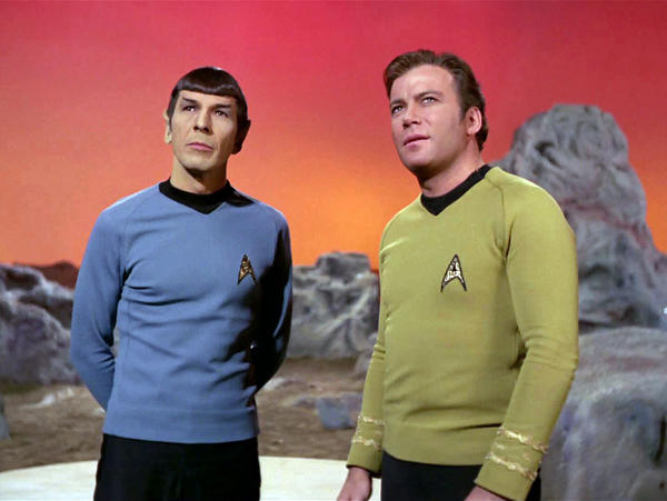 "Leonard Nimoy, left, and William Shatner in the original ""Star Trek"" series. (CBS)"