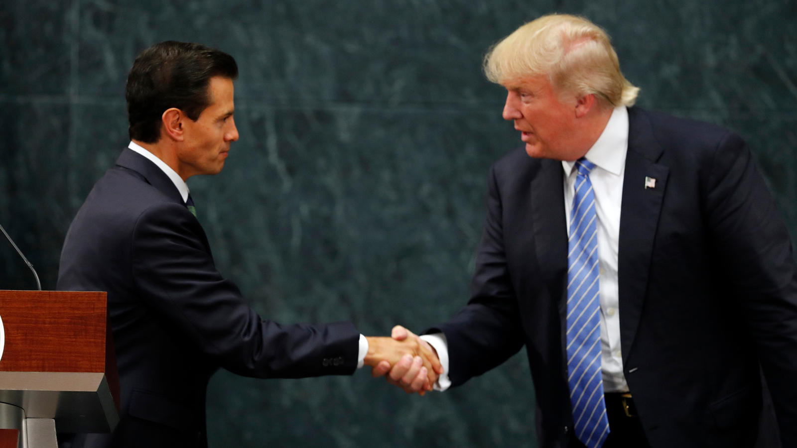 Then-candidate Donald Trump meets with Mexican President Enrique Peña Nieto in August 2016 in Mexico City. (Dario Lopez-Mills / Associated Press)
