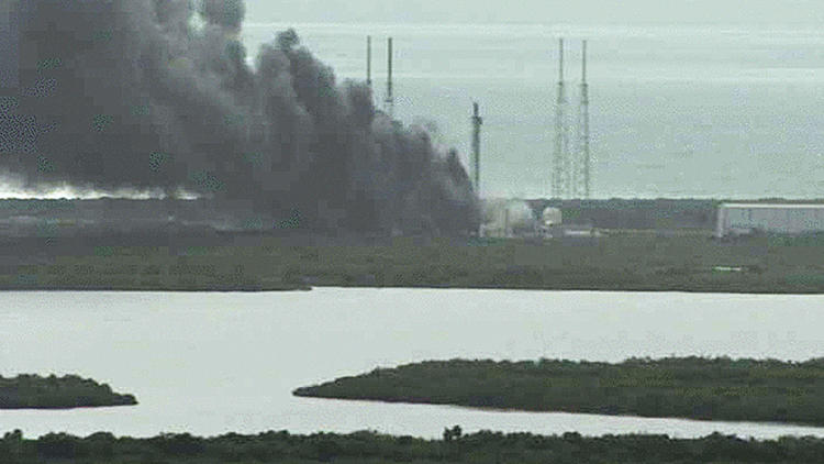 NASA live camera shows fire burning on a launch pad after a SpaceX Falcon 9 rocket exploded during a test firing in Cape Canaveral, Florida.,
