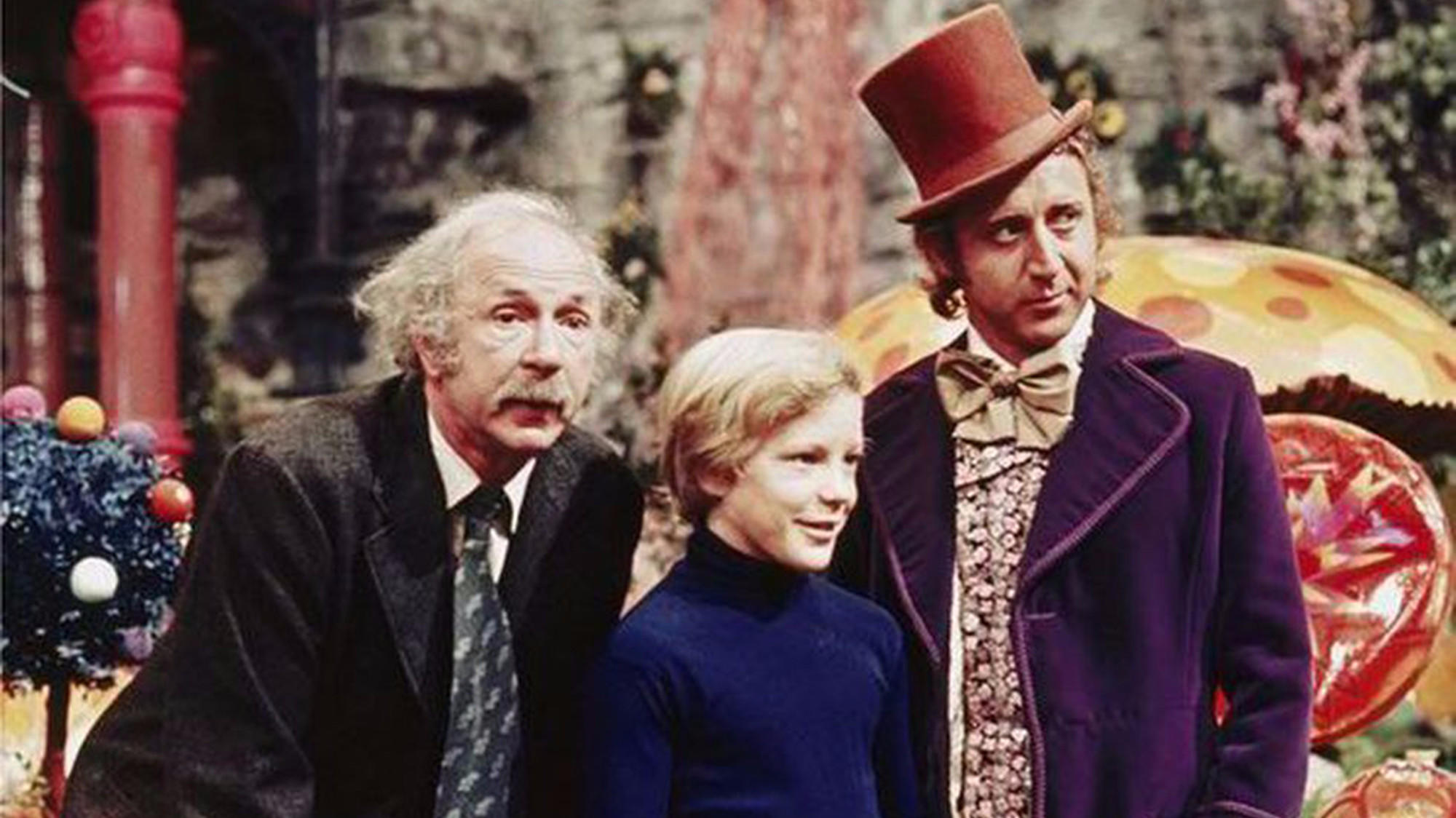 """The 1971 film """"Willy Wonka & the Chocolate Factory"""" starred Jack Albertson, left, Peter Ostrum and Gene Wilder. (Felicity Dahl)"""