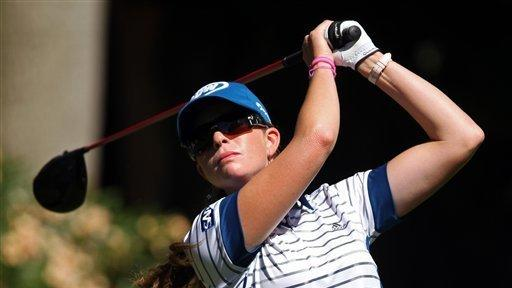 United States' Paula Creamer tees off on the fifth hole during the third round of