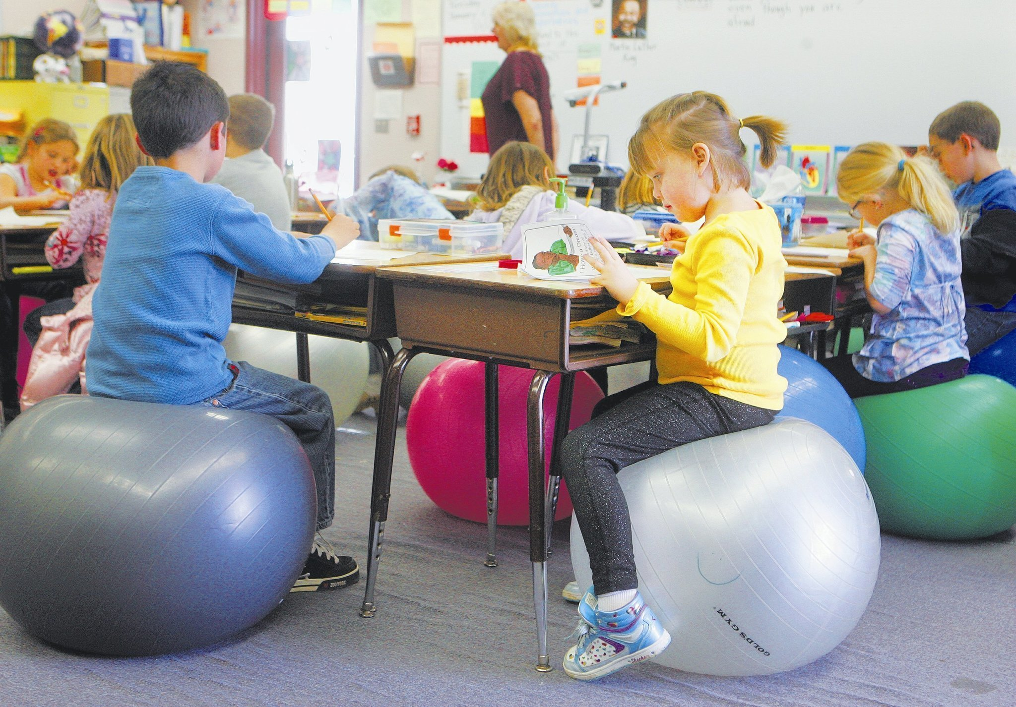 Ramona teachers let students trade chairs for exercise balls The