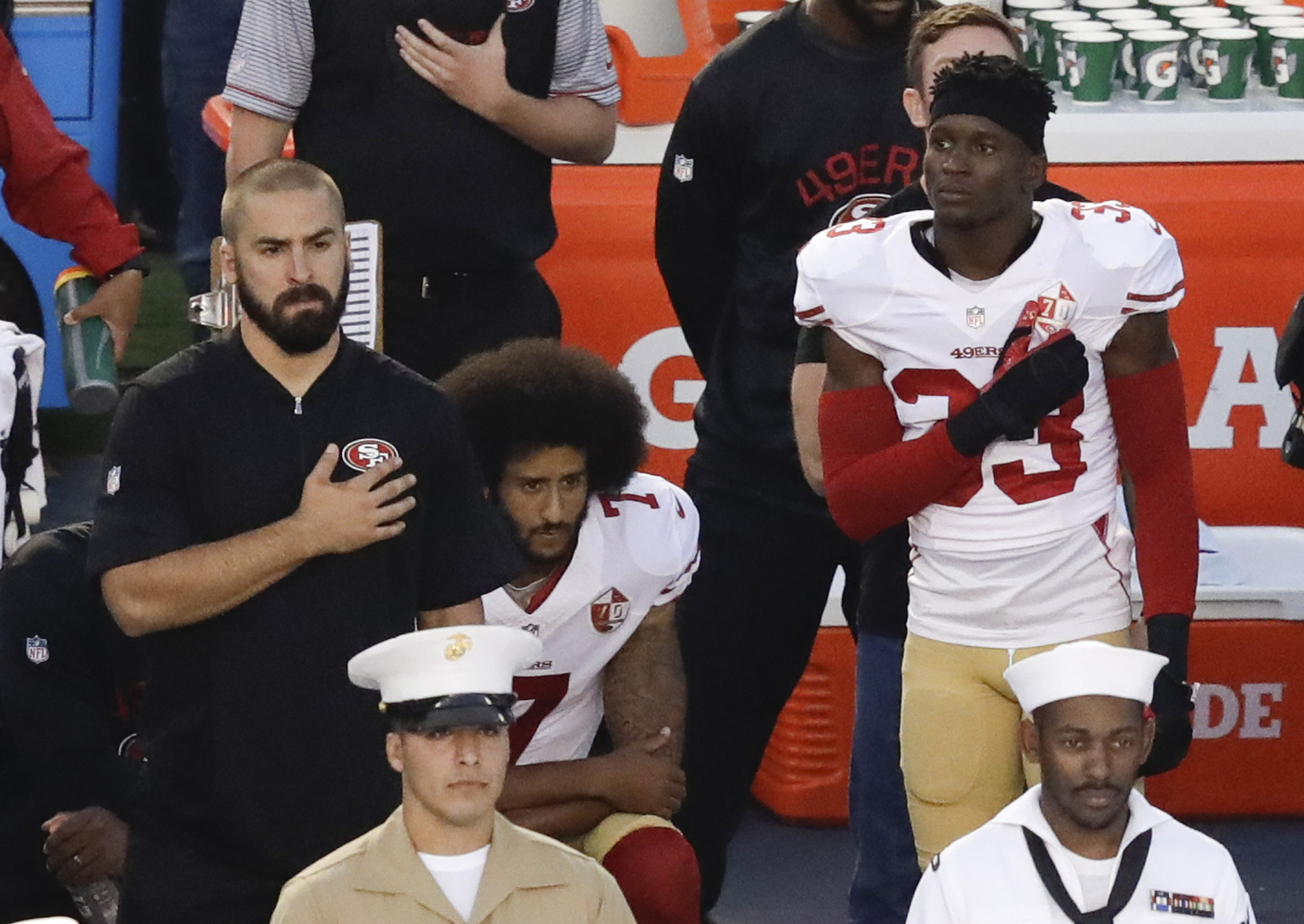 Colin kaepernick takes a knee during national anthem in san diego and is booed la times