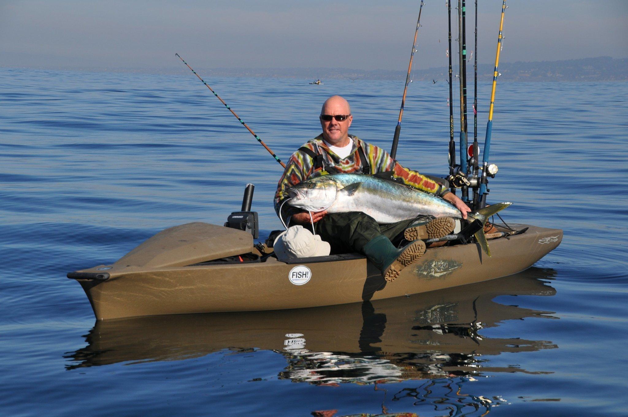 Kayak angler lands giant yellowtail off la jolla the san for La jolla fishing