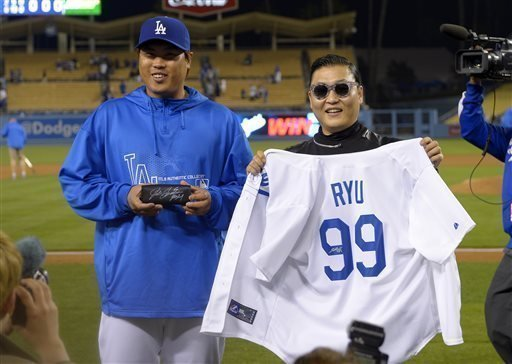 Dodgers  Ryu whiffs 12 with pop star PSY on hand - The San Diego  Union-Tribune 54b107bf58a