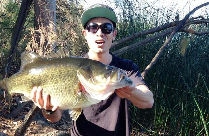 Giant bass caught from shore at miramar the san diego for Bass fishing san diego