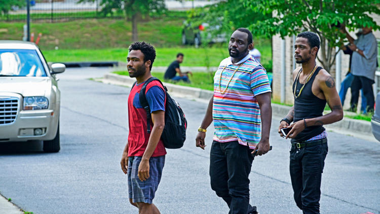 "Donald Glover, from left, Brian Tyree Henry and Lakeith Stanfield are three friends looking to better themselves in Glover's new FX comedy, ""Atlanta."" (Guy D'Alema / FX)"