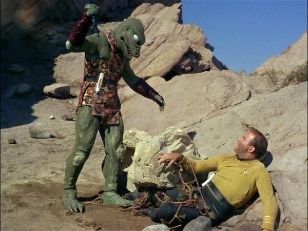 """Alien life at Vasquez Rocks: William Shatner's Capt. James T. Kirk faces the Gorn in the """"Star Trek"""" episode """"Arena,"""" which first aired Jan. 19, 1967. (CBS via Getty Images)"""