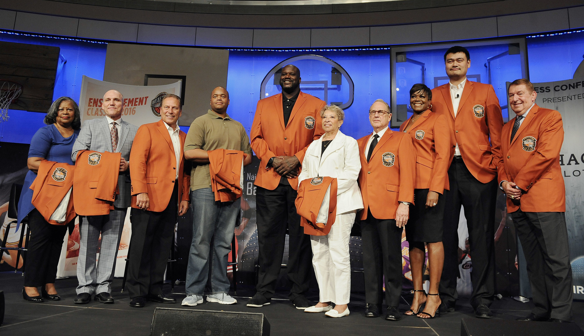Basketball Hall of Famers orange jackets with induction