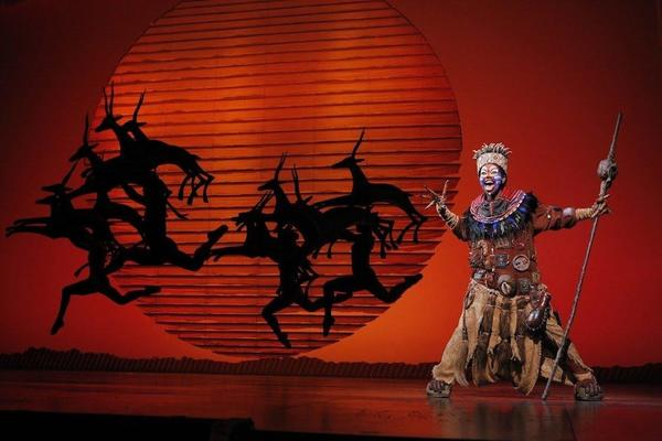 "Buyi Zama as Rafiki in ""The Lion King"" tour, which plays through Oct. 2 at the San Diego Civic Theatre."