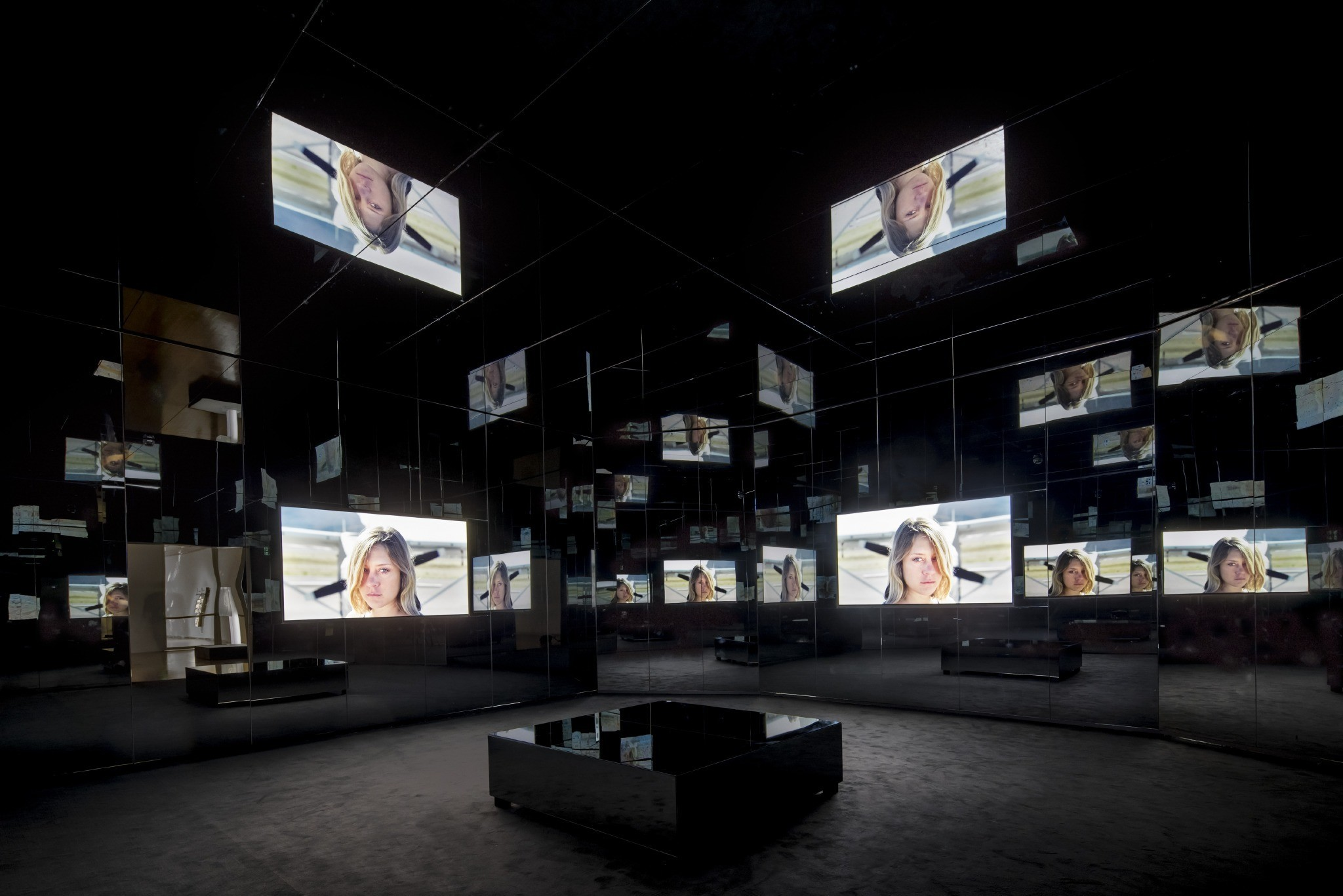 """In """"Black Mirror,"""" images are reflected in a kaleidoscopic, Cubist-style infinity."""