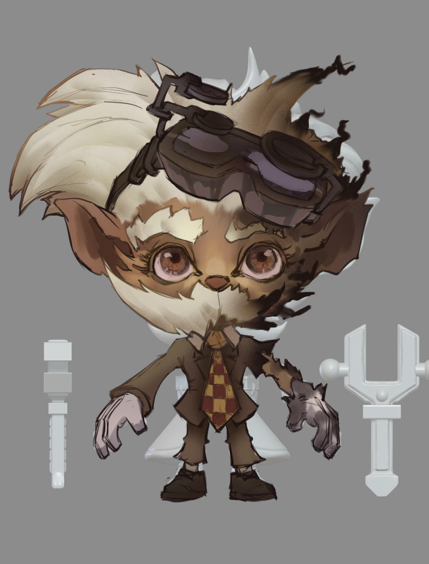 "Early concept art shows Heimerdinger, a character in the online battle game ""League of Legends"" who is known as a ""revered inventor."""
