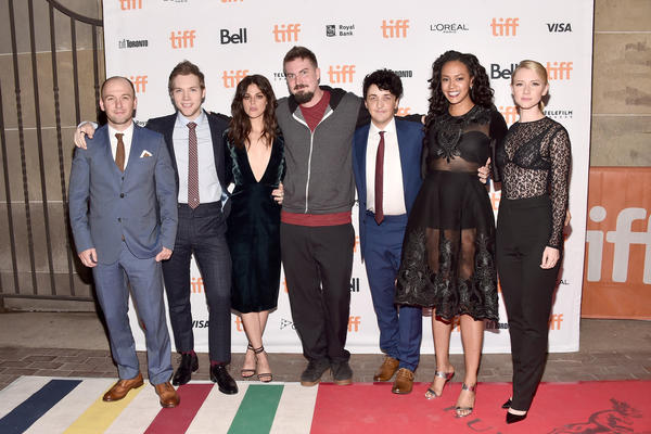 "The ""Blair Witch"" team, from left: writer Simon Barrett, actors James Allen McCune, Callie Hernandez, director Adam Wingard, actors Wes Robinson, Corbin Reid and Valorie Curry -- at Sunday's premiere in Toronto. (Alberto E. Rodriguez / Getty Images)"