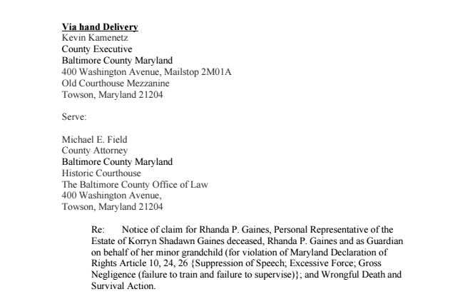 document notice of intent to sue in korryn gaines case baltimore sun
