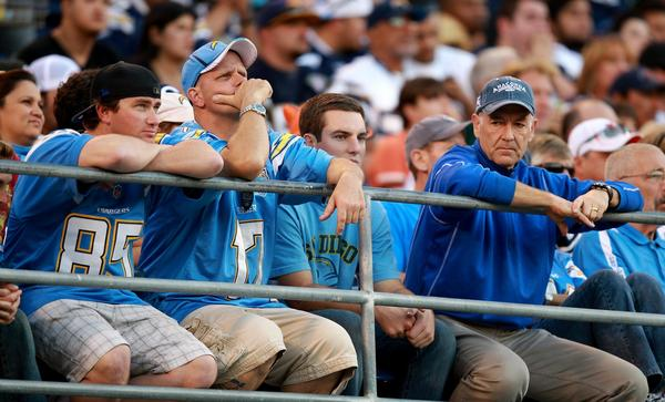 San Diego Chargers lose to the Cincinnati Bengals 17-10 at Qualcomm Stadium. Disgruntled Charger fans.