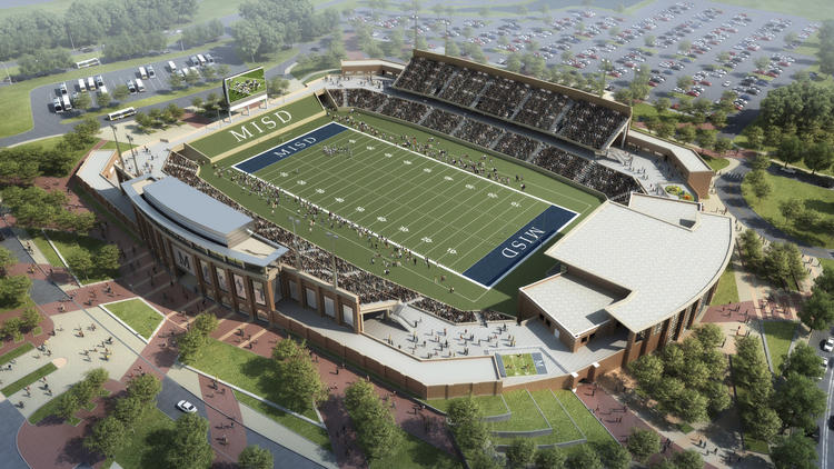 Rendering of the soon to be built stadium for the McKinney Independent School District in Texas.