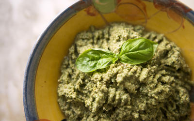 Green olive and almond tapenade with basil