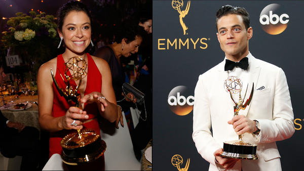 Tatiana Maslany and Rami Malek and their Emmys. (Allen J. Schaben / Al Seib / Los Angeles Times)