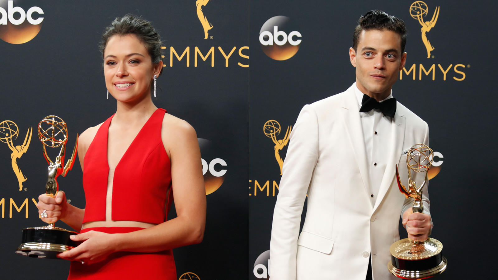 Tatiana Maslany and Rami Malek with their Emmy Awards in 2016. (Allen J. Schaben / Los Angeles Times)