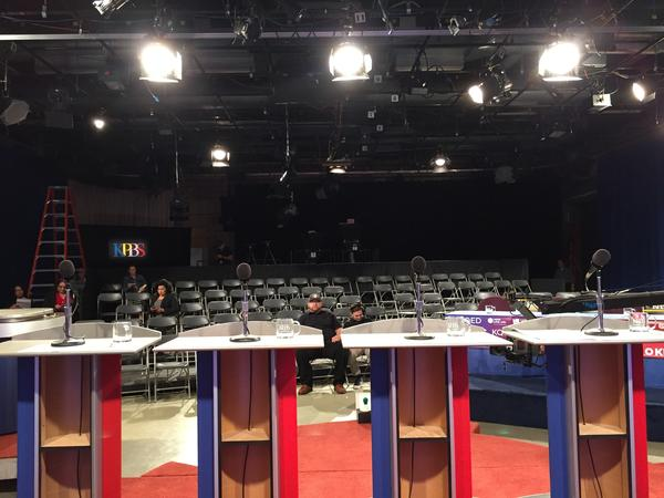 The empty stage before the U.S. Senate debate at KPBS in San Diego in May. This debate, which actually did happen, was during the primary campaign. (Phil Willon / Los Angeles Times)