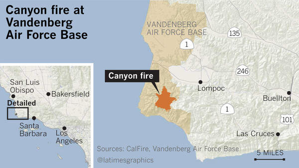 Location of Canyon Fire at Vandenberg Air Force Base (@latimesgraphics)