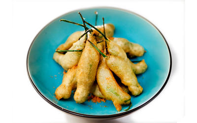 Tempura shishito peppers with sriracha salt