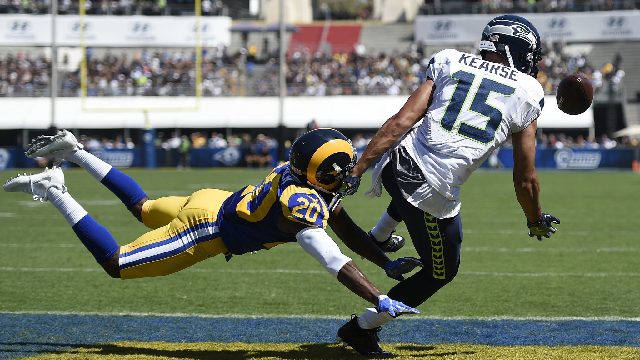 Rams cornerback Lamarcus Joyner prevents a reception by the Seahawks' Jermaine Kearse in the end zone at the Coliseum on Sept. 18. (Kelvin Kuo / Associated Press)