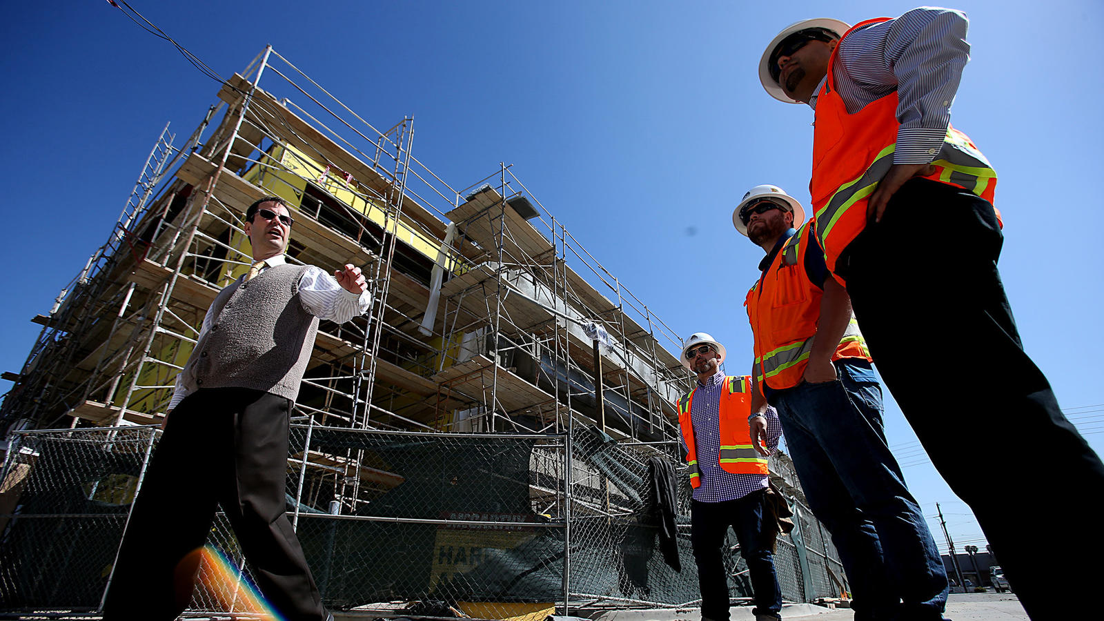 Hawthorne High School under construction in 2014. (Los Angeles Times)