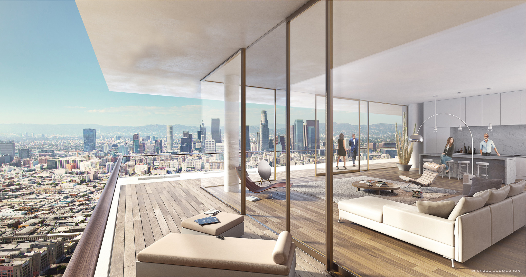 Rendering of the 6AM project with view pointed toward the downtown L.A. skyline.