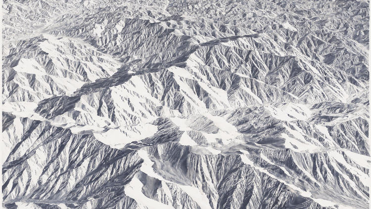 "A detail from ""Untitled (Mountains 2),"" 2011-12, by Toba Khedoori, on view at the L.A. County Museum of Art."