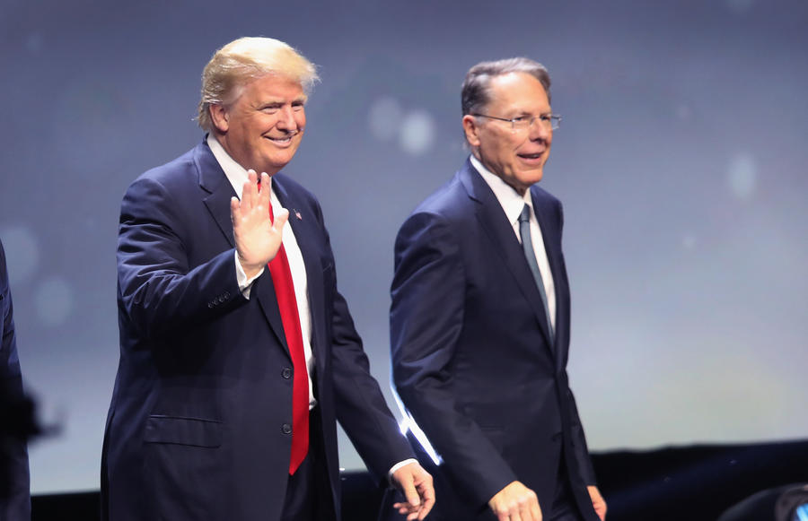 Donald Trump with Wayne LaPierre, executive vice president of the National Rifle Association, at the organization's 2016 national convention. — Photograph: Scott Olson/Getty Images.