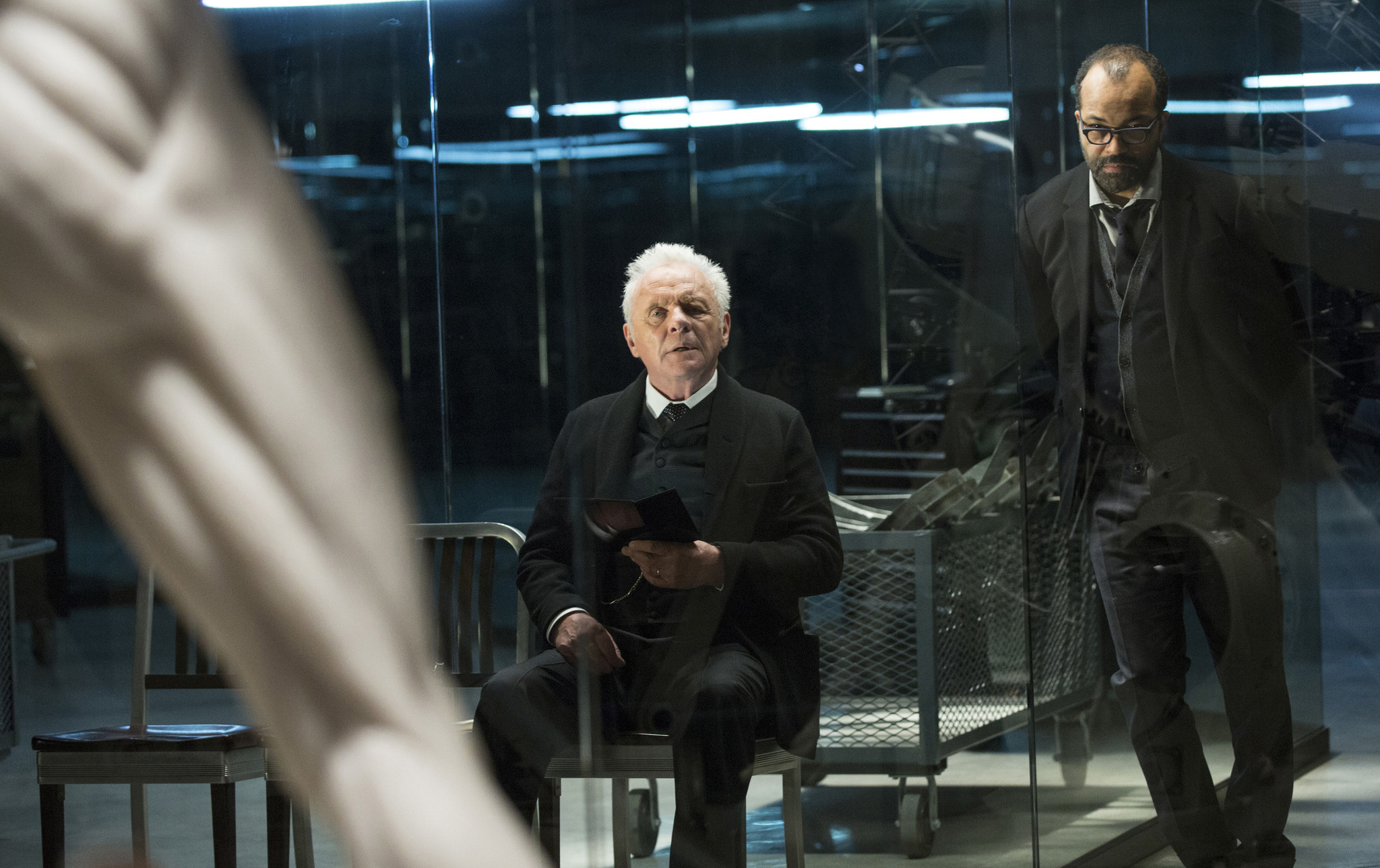 "Anthony Hopkins, left, and Jeffrey Wright are both nominated for Emmys for their roles in HBO's ""Westworld."" (AP/HBO)"