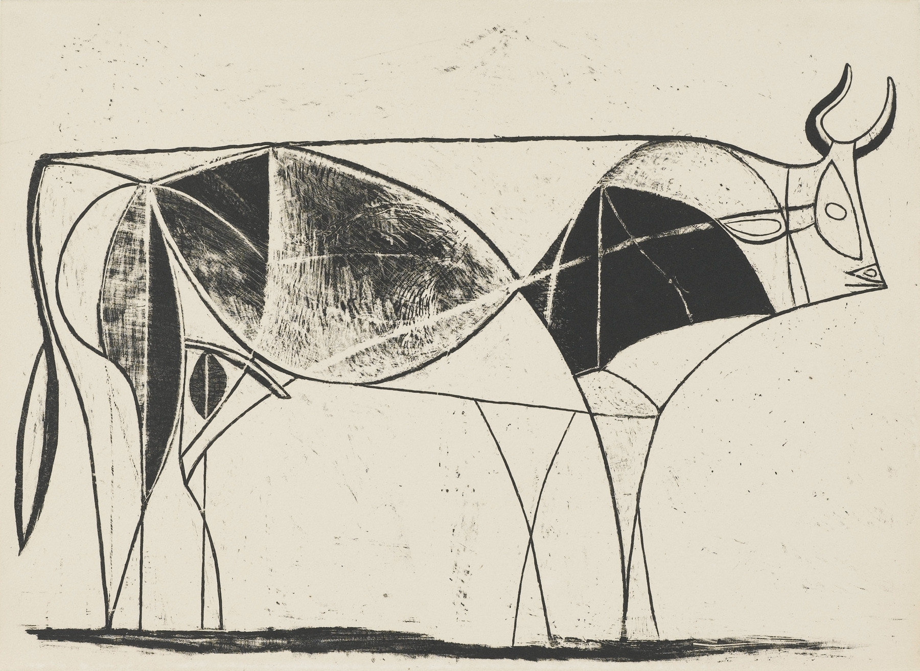 "A lithograph, ""The Bull,"" 1945, by Pablo Picasso."