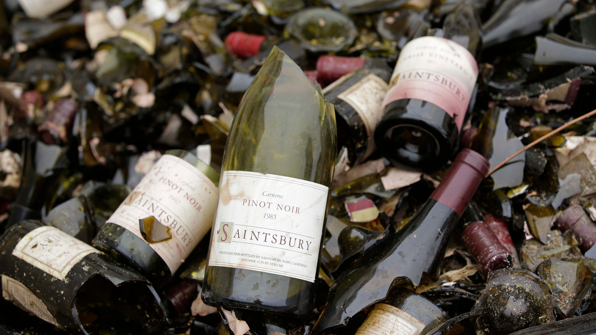 Vintage bottles from the wine library at Saintsbury winery in Napa, Calif., are tossed in a bin after an August 2014 temblor.
