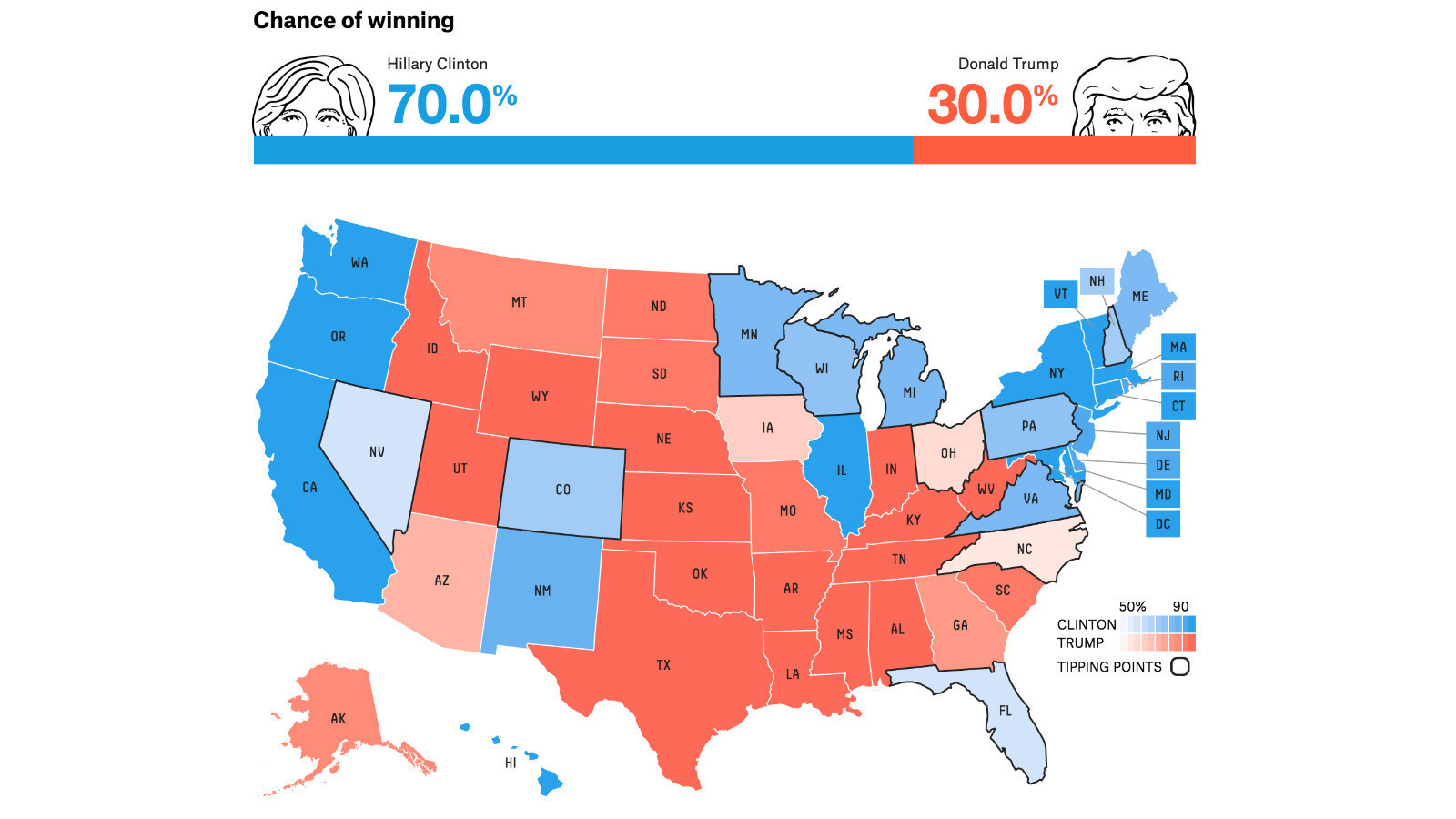 Clinton Vs Trump By The Numbers Or How To Really Understand - Us map trump vs clinton