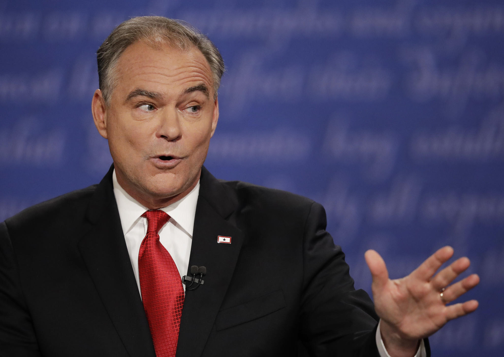 Democratic vice presidential nominee Tim Kaine defended running mate Hillary Clinton during the debate at Longwood University in Farmville, Va.