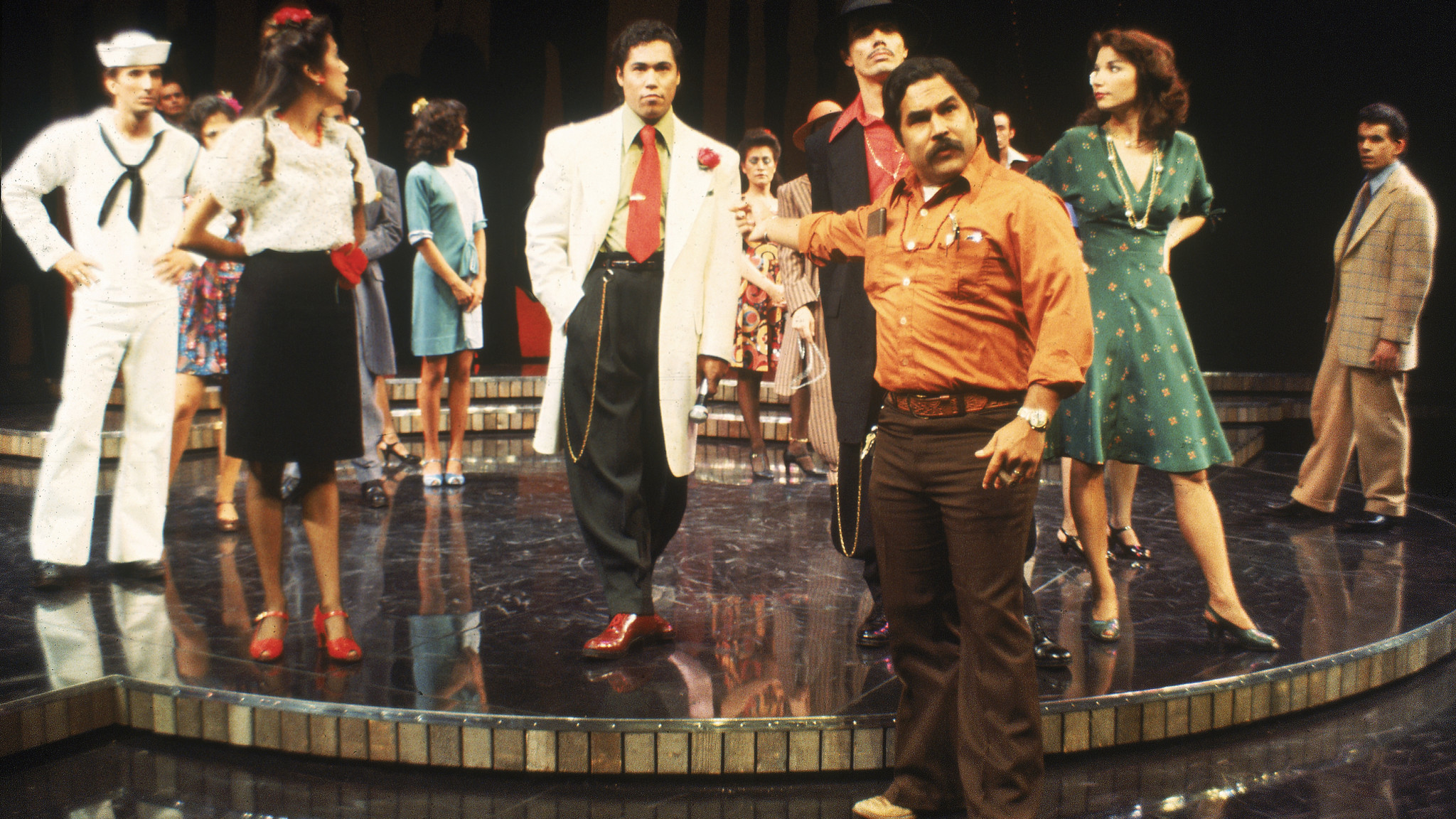 """Luis Valdez with the cast of the 1978 production of """"Zoot Suit"""" at the Mark Taper Forum."""